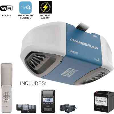 Chamberlain 1-1/4 HP Smartphone-Controlled Ultra-Quiet & Strong Belt Drive Garage Door Opener with Built-In WiFi, Battery Backup and MAX Lifting Power