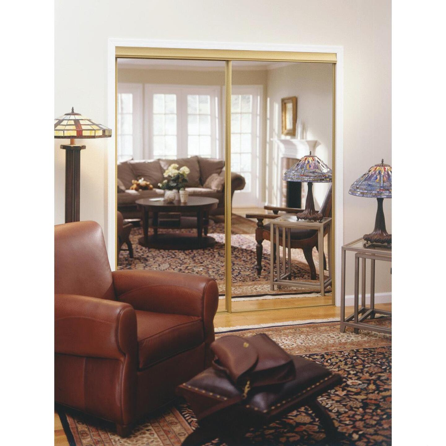 Erias 4050 Series 71 In. W. x 80-1/2 In. H. Mayan Gold Top Hung Mirrored Bypass Door Image 1