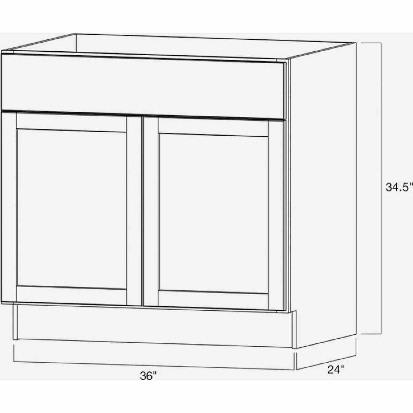 Continental Cabinets Andover Shaker 36 In. W x 34 In. H x 24 In. D White Thermofoil Base Kitchen Cabinet Image 4
