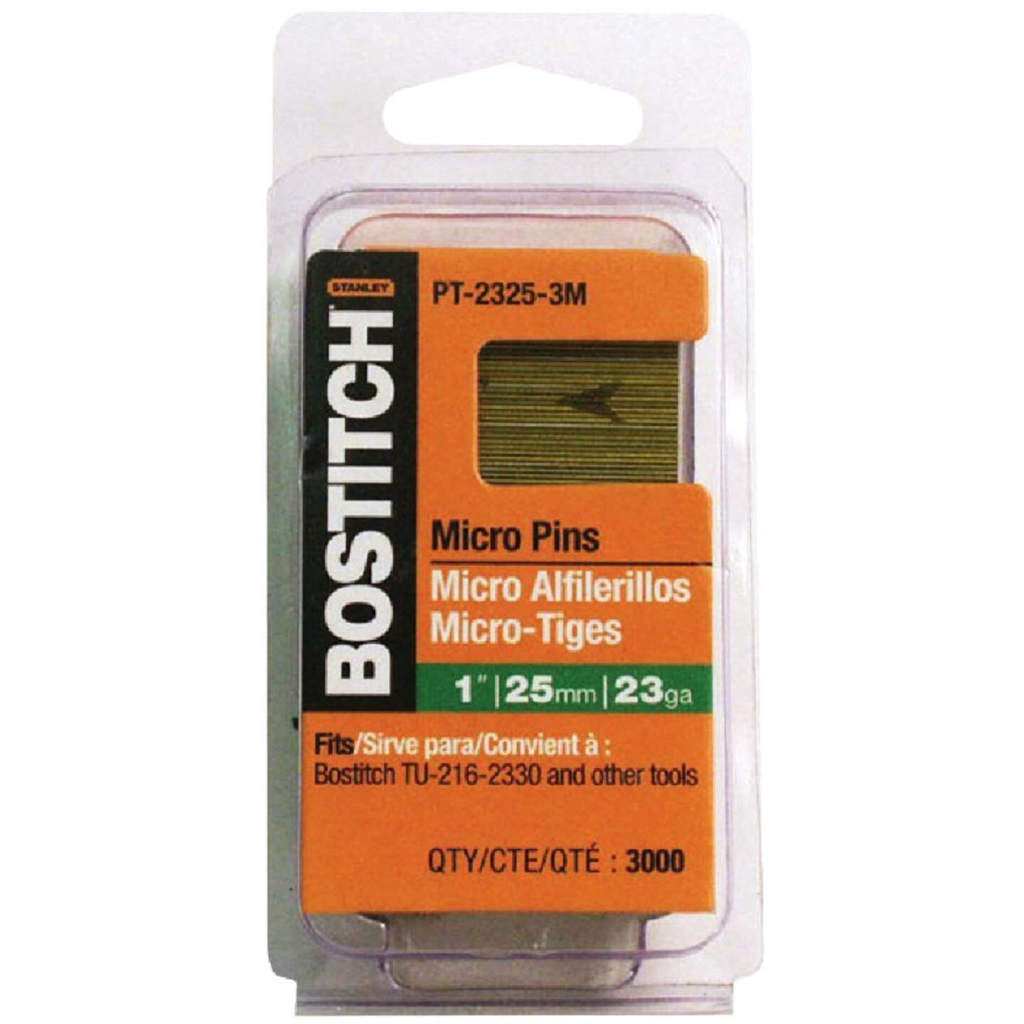 Bostitch 23-Gauge Coated Pin Nail, 1/2 In. (3000 Ct.) Image 1