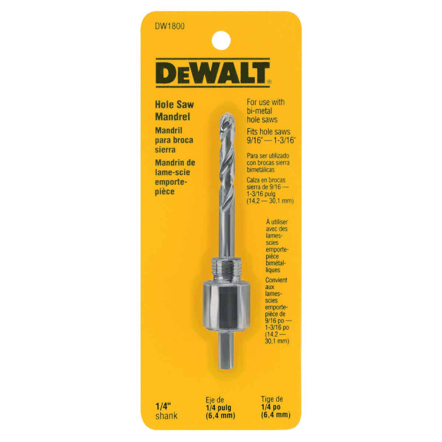 DeWalt 1/4 In. Hex Shank Hole Saw Mandrel Fits Hole Saws 9/16 In. to 1-3/16 In. Image 1