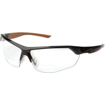 Carhartt Braswell Black Frame Reader Safety Glasses with Clear Anti-Fog Lenses, 2.5 Diopter