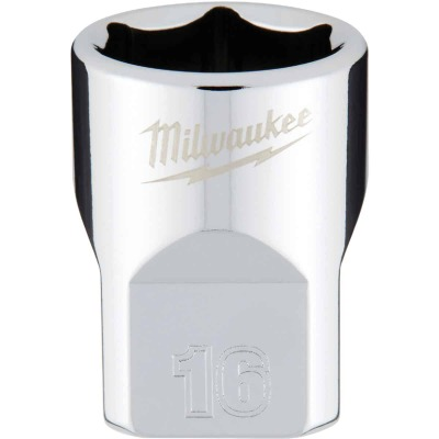 Milwaukee 3/8 In. Drive 16 mm 6-Point Shallow Metric Socket with FOUR FLAT Sides