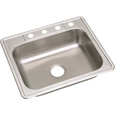 Elkay Single Bowl 25 In. x 22 In. x 6 In. Deep Stainless Steel Kitchen Sink