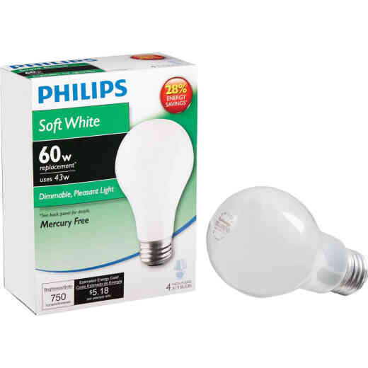 Philips EcoVantage 60W Equivalent Soft White Medium Base A19 Halogen Light Bulb (4-Pack)