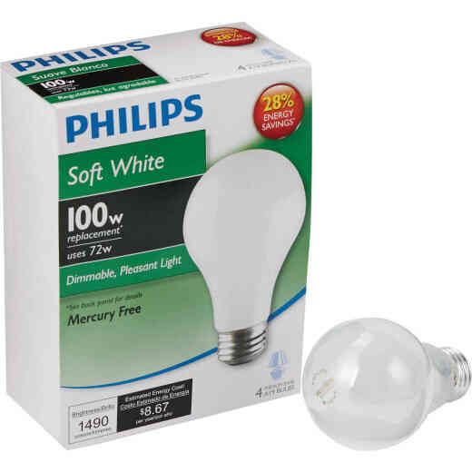 Philips EcoVantage 100W Equivalent Soft White Medium Base A19 Halogen Light Bulb (4-Pack)