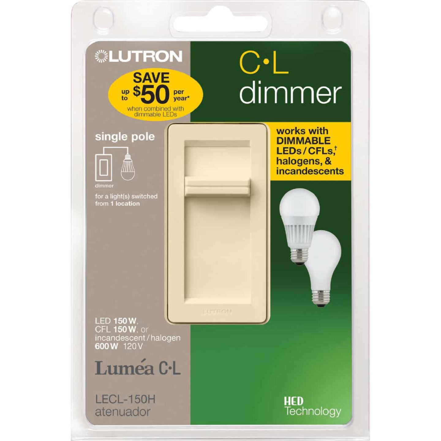 Lutron Lumea CL Ivory 120 VAC Wireless Dimmer Image 2