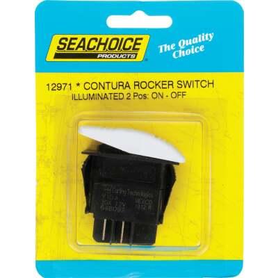 Seachoice Contura 20A 12V White Illuminated Rocker Switch, On/Off