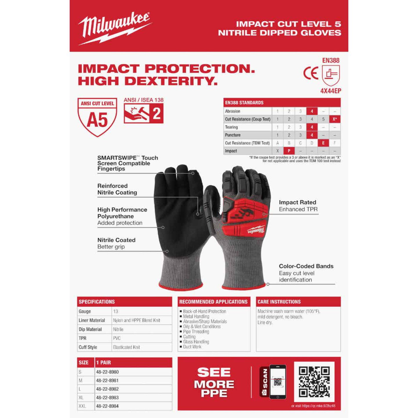 Milwaukee Impact Cut Level 5 Men's XL Nitrile Dipped Work Gloves Image 5
