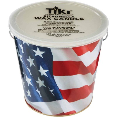 Tiki 16 Oz. 1-Wick American Flag Citronella Candle Bucket