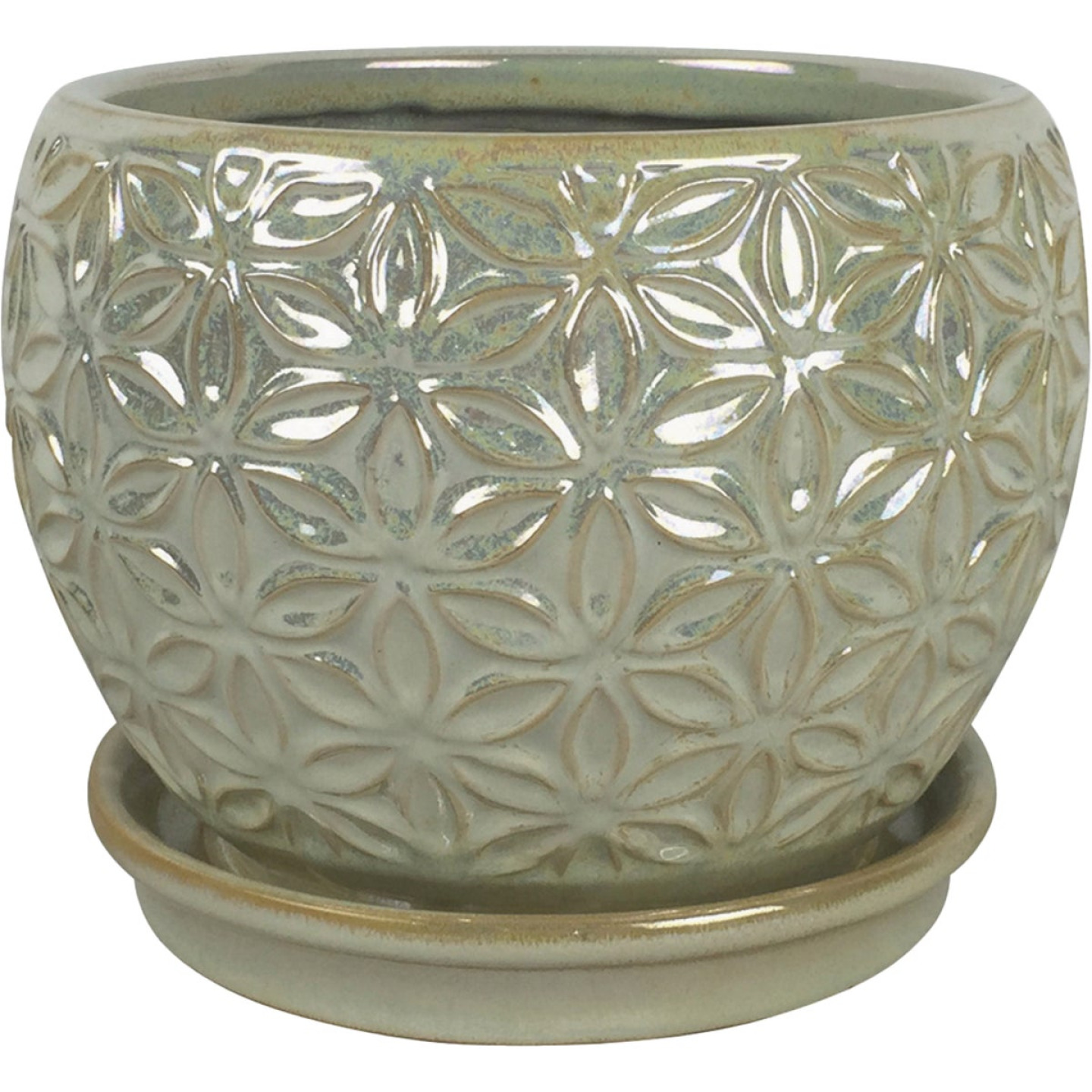 Southern Patio Elora 8 In. Ceramic Clayworks Pearl Planter Image 1