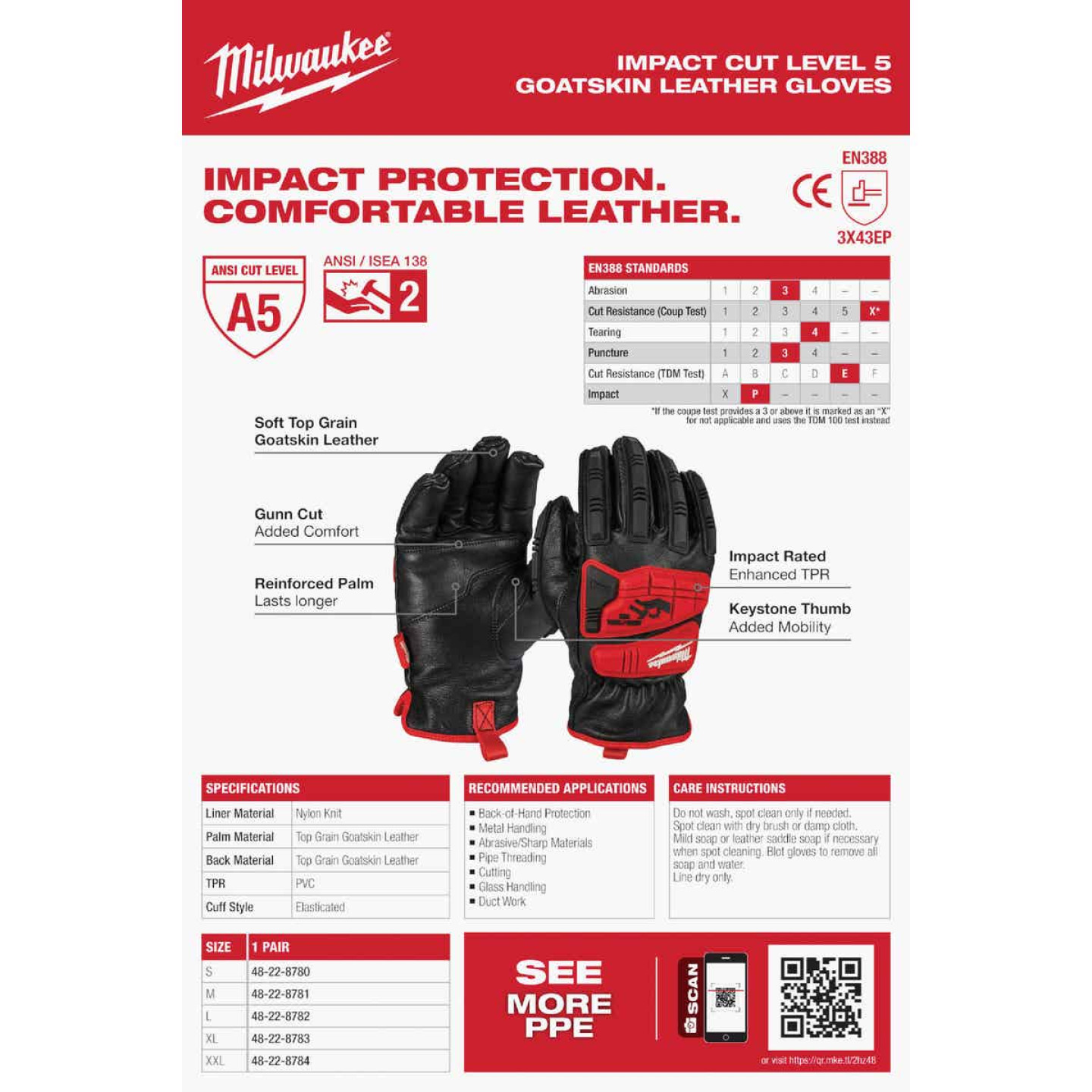 Milwaukee Impact Cut Level 5 Men's XL Goatskin Leather Work Gloves Image 5