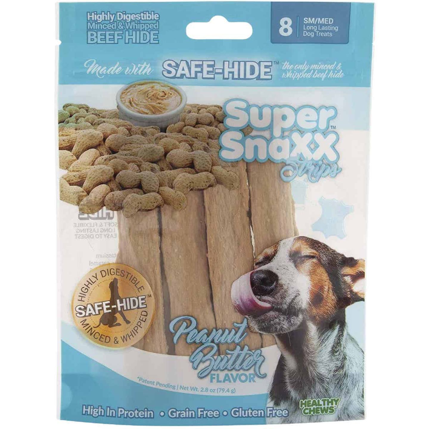 Healthy Chews Super SnaXX Strips Peanut Butter Dog Treat (8-Pack) Image 1