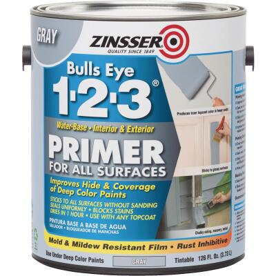 Zinsser Bulls Eye 1-2-3 Water-Base Interior/Exterior Stain Blocking Primer, Gray, 1 Gal.