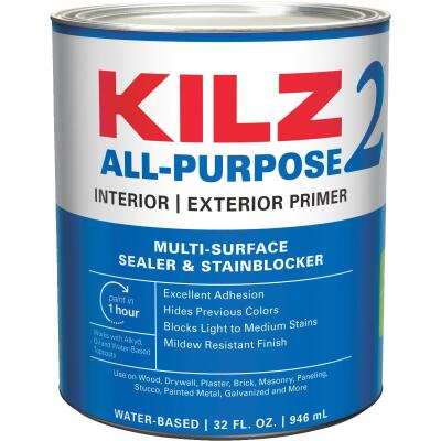 KILZ 2 Latex Interior/Exterior Sealer Stain Blocking Primer, White, 1 Qt.
