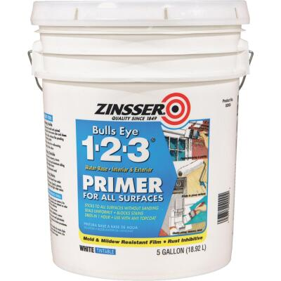 Zinsser Bulls Eye 1-2-3 Water-Base Interior/Exterior Stain Blocking Primer, White, 5 Gal.