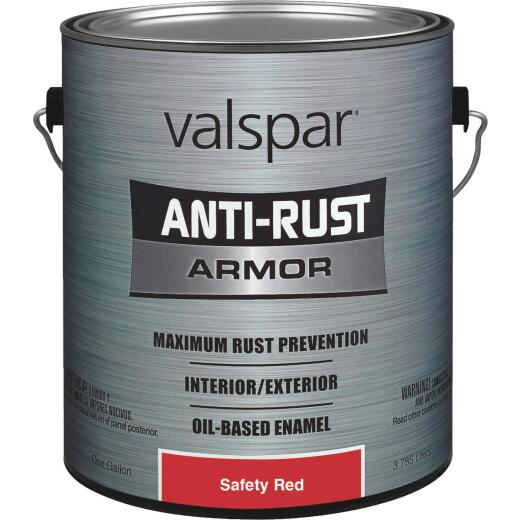 Valspar Oil-Based Gloss Anti-Rust Armor Safety Color Rust Control Enamel, Safety Red, 1 Gal.