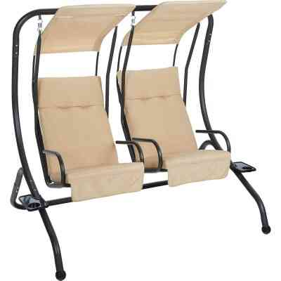 Outdoor Expressions 2-Person 67 In. W. x 67 In. H. x 53.5 In. D. Tan Patio Swing