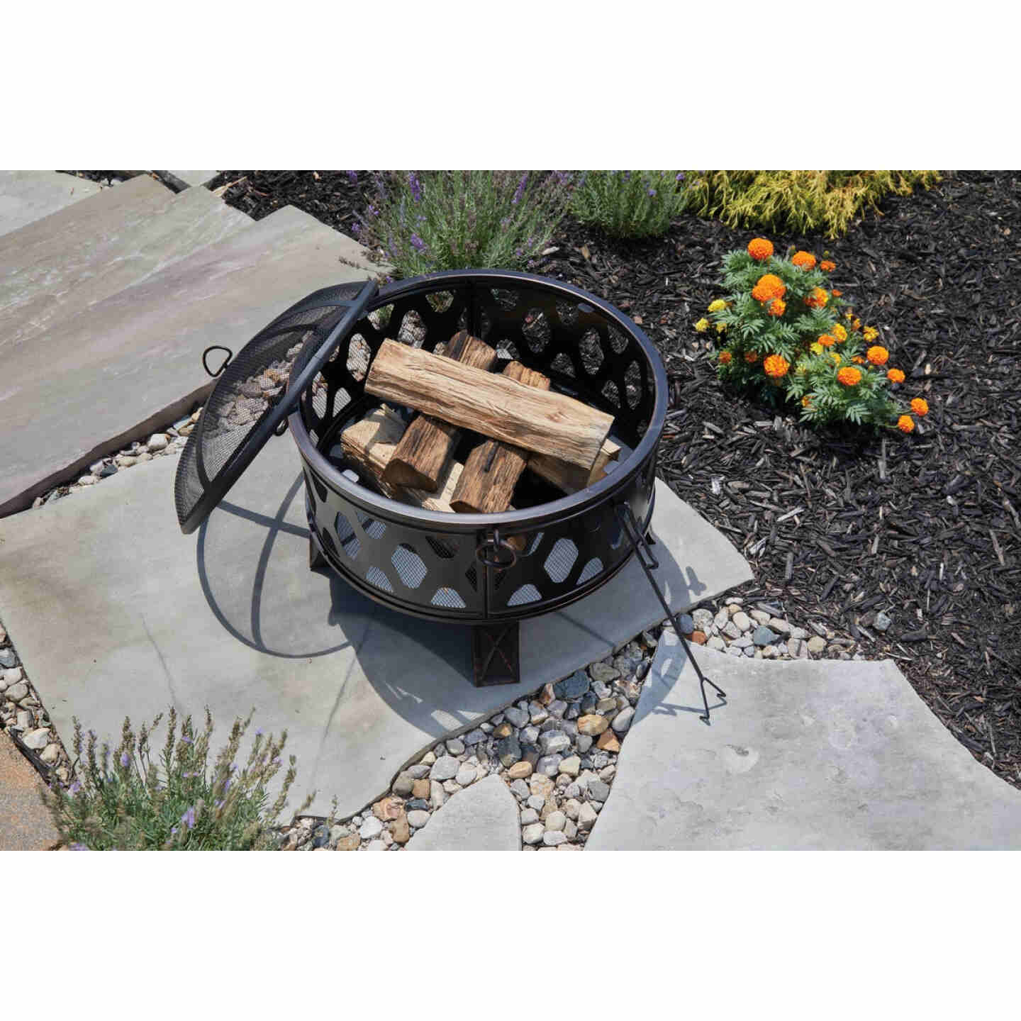 Outdoor Expressions 26 In. Antique Bronze Deep Bowl Steel Firepit Image 3