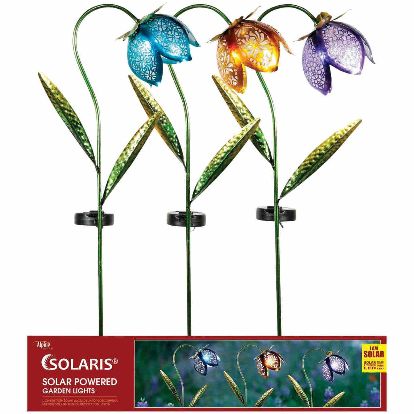 Solar Metal and Glass Flower Garden Stake Image 3