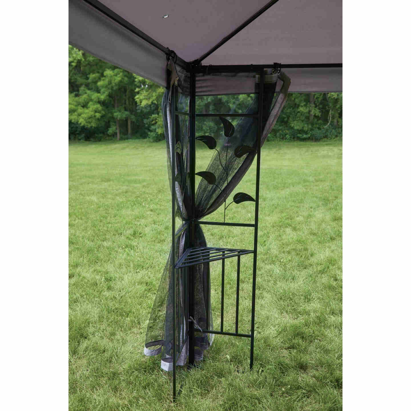 Outdoor Expressions 10 Ft. x 10 Ft. Gray & Black Steel Gazebo with Sides Image 6