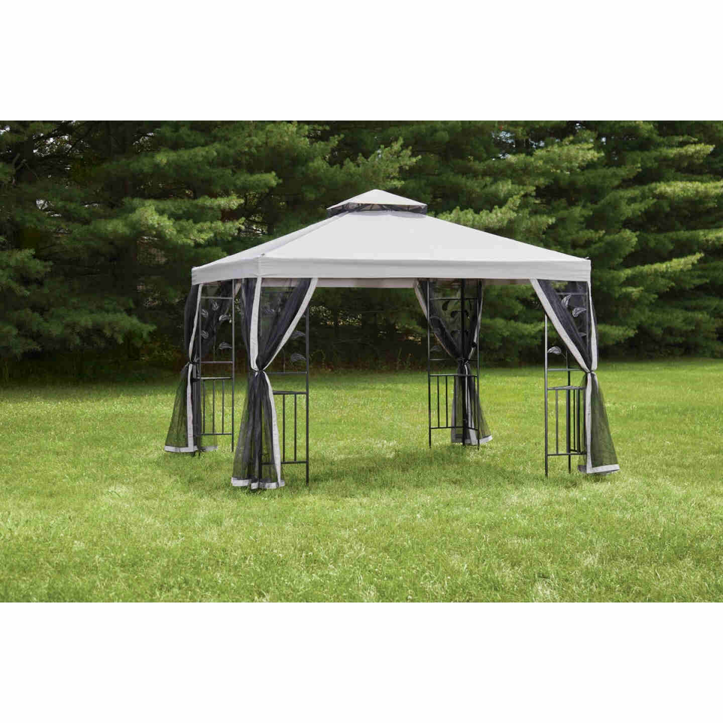 Outdoor Expressions 10 Ft. x 10 Ft. Gray & Black Steel Gazebo with Sides Image 4