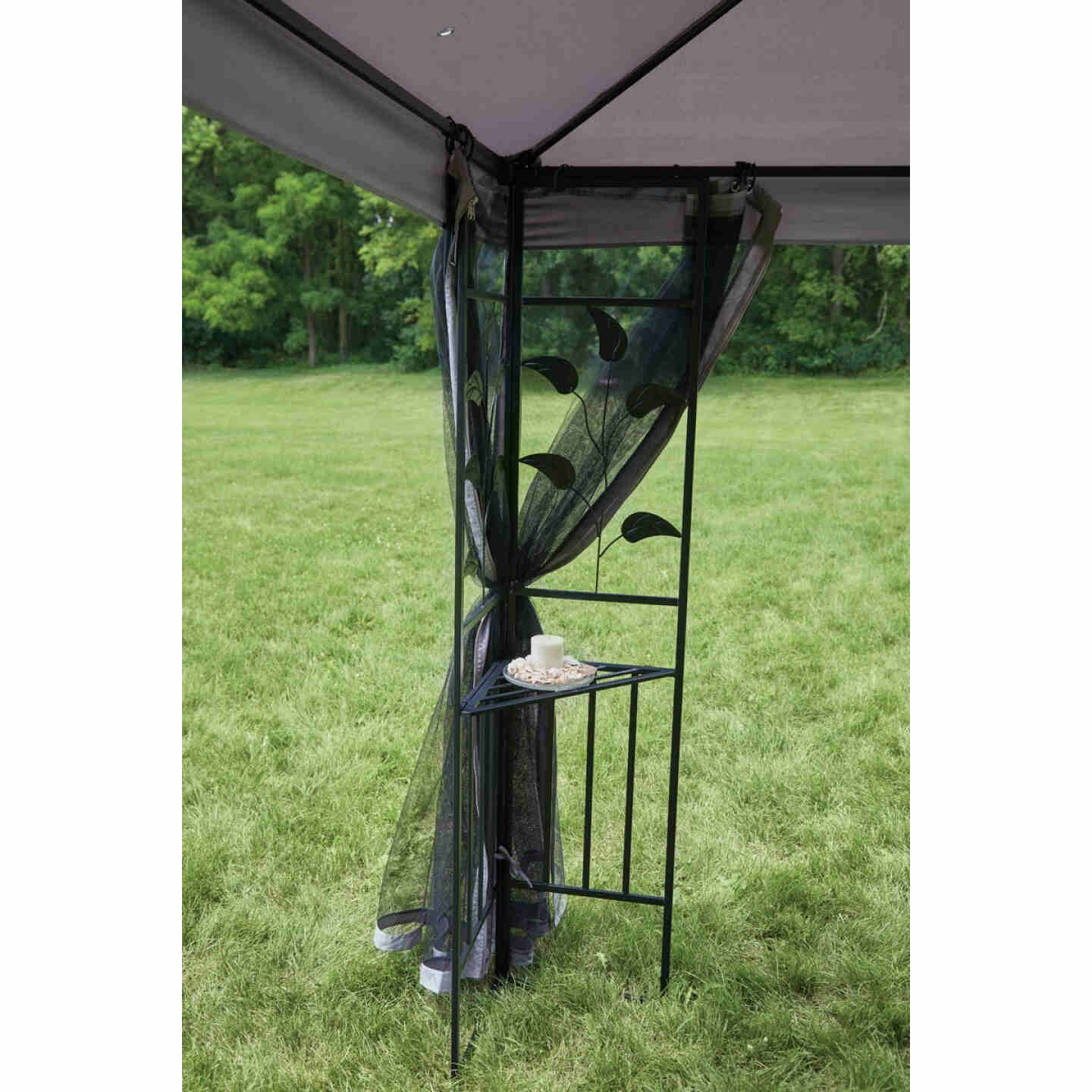 Outdoor Expressions 10 Ft. x 10 Ft. Gray & Black Steel Gazebo with Sides Image 5