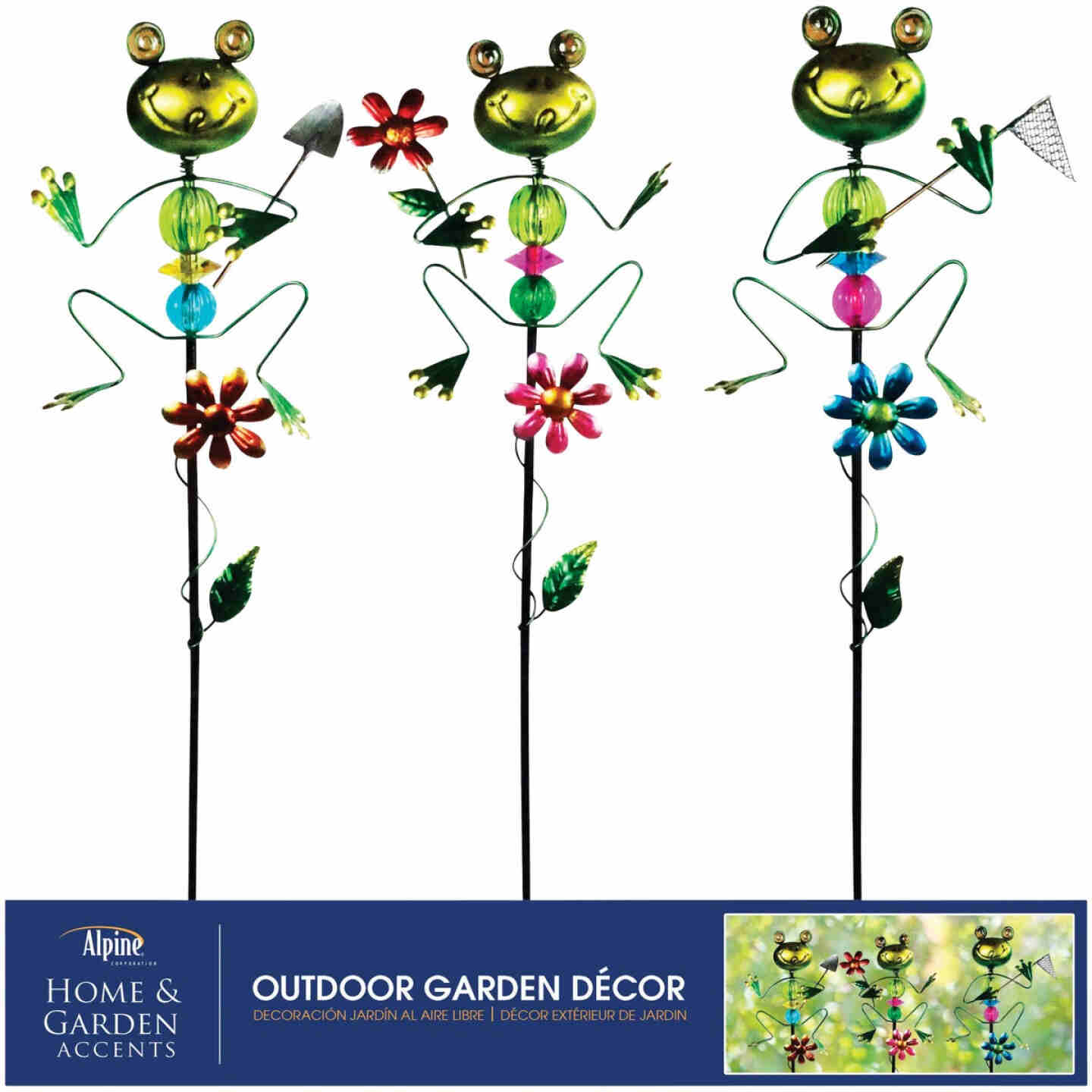 Alpine 36 In. Metal Frog Garden Stake Lawn Ornament Image 3