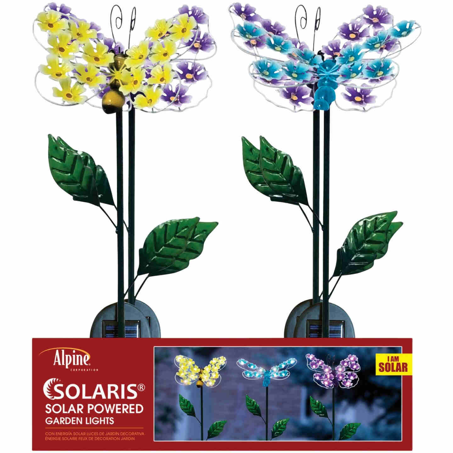 Alpine Metal 33 In. H. Insect with Hydrangea Wings Solar Stake Light Image 3