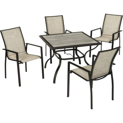 Pacific Casual New Brunswick 5-Piece Sling Dining Set