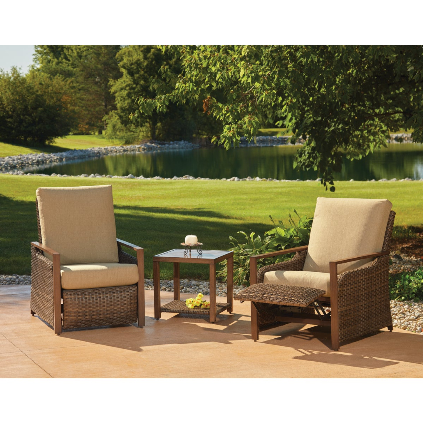 Pacific Casual Quincy 3-Piece Aluminum Reclining Chat Set Image 3